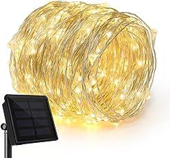 Rophie Solar Lichterkette 200 LED Leuchte 22 Meter solarbetriebene Kupferkabel Wasserdichte Lichterketten Innen Außen Deko Lichter für Weihnachten Partys Garten Hochzeiten Aussen Dekoration, Warmweiß