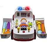WISHTIME Ambulanza di Soccorso Veicolo Bump And Go con Varie Attrezzature mediche, luci Musica e Suoni mediche Giocattolo
