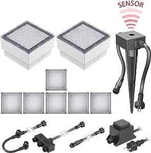 LED Pflaster-Stein Gorgon Boden-Einbauleuchte mit Dämmerungssensor für außen ink