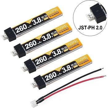 Crazepony 4pcs 260mAh HV 1S Lipo Batterie 30C 3.8V pour Tiny Whoop Lame Inductrix JST-PH 2.0 Connecteur (1S LIHV, 260mah de long)
