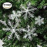 50 Stück Weihnachtsdeko Schneeflocken Girlande Fensterdeko Hängend String Weihnachtsbaumschmuck 3D Schneeflocke Weihnachten Dekoration für Fenster