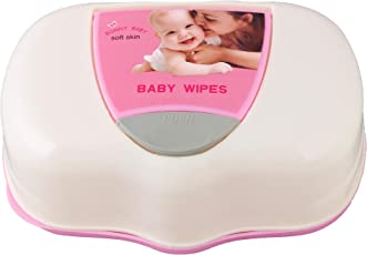 Aurawings.in Baby Wipes Box (Wet Tissue Box with Press Pop up Design; Pack of 1; Pink & White)