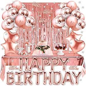 Amteker Geburtstagsdeko Geburtstag Party Dekorationen Happy Birthday Folienballon Glitzer Vorhang Konfetti Herz Stern Folienballon Konfetti Ballons Rosegolde Ballons Party Deko Für Mädchen Spielzeug