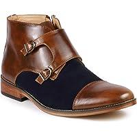 Metrocharm MC117 Men's Cap Toe Double Monk Strap Formal Dress Casual Ankle Boots