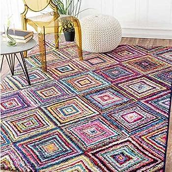 UN AMOUR DE TAPIS - tapis salon carre boutik noir, blanc, rose, bleu, gris,  jaune, orange, violet, rouge, vert, gris - 160 x 230 cm - tapis moderne ...