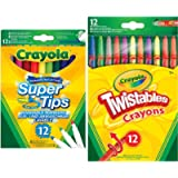 Crayola Supertips Washable - Pack of 12 & Twistables Crayons, Pack of 12