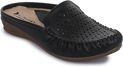 La Shades, 014 Black Designer Slip on Doctor Shoes for Women