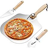 Homealexa Pelle à Pizza, Planche à Pizza Aluminium, Manche Long en Bois Détachable, Set de 3pcs avec Coupe-roue et Cuillère à