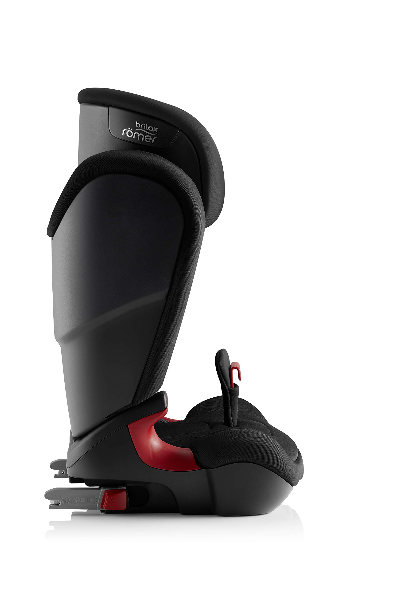 Britax Römer car seat 15-36 kg, KIDFIX 2 R Isofix group 2/3, Cosmos Black Britax Römer Secure guard - helps to protect your child's delicate abdominal area by adding an extra - a 4th - contact point to the 3-point seat belt. High back booster - protects your child in 3 ways: provides head to hip protection; belt guides provide correct positioning of the seat belt and the padded headrest provides safety and comfort. Easy adjustable v-shaped backrest - designed to give optimum support to your growing child, the v-shaped backrest provides more space for their back and shoulders. 7