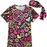 COSAVOROCK Femme 60s 70s Costume de Hippy Flower Power T-Shirts avec Bandeaux