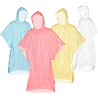 Bora Pack of 12 Rain Ponchos with Hood – Economy Set Disposable Emergency Ponchos Ideal for Concerts, Camping, Outdoors…