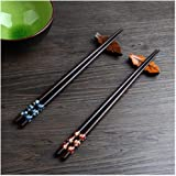Leaptech 2 Paar Set Essstäbchen Japanische Natur Chopsticks aus umweltfreundlichem hölzernen in Edler Schatulle…
