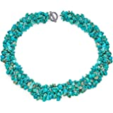 Bling Jewelry Chunky Onyx Lapis Aventurine Rosso Turchese Gemstone Chips Cluster Multi Strand Dichiarazione Bib Collar Essenz