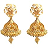oh wow Gold-Plated Copper and Apatite Jhumki Earrings for Women & Girls, Grey