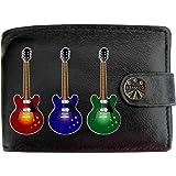 Electic 3 Guitars Rock Music Musical KLASSEK Mens Wallet Real Black Leather RFID Blocking with Coin Pocket and Metal Gift Box