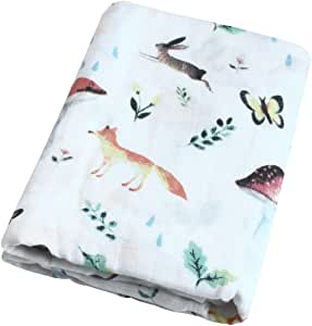 """Bamboo Muslin Swaddle Blankets 2 Pack/""""Fox /& Elk Print"""" Bamboo Cotton Baby for"""