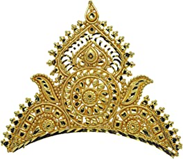 Srijacollections Golden Crown Tiara Mukut for Bengali Indial Women Bride