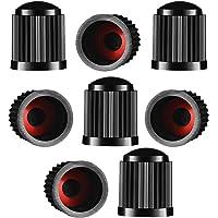 Lot de 8 bouchons de valve de pneu en plastique avec joint d'étanchéité pour SUV, moto, camion, moto - Noir