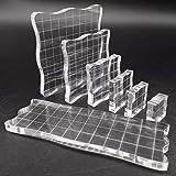 7 Pièces Tampon Encreur Acrylique, Blocs de Tampons en Acrylique Transparent Avec Lignes Quadrillées, pour Production D'artis