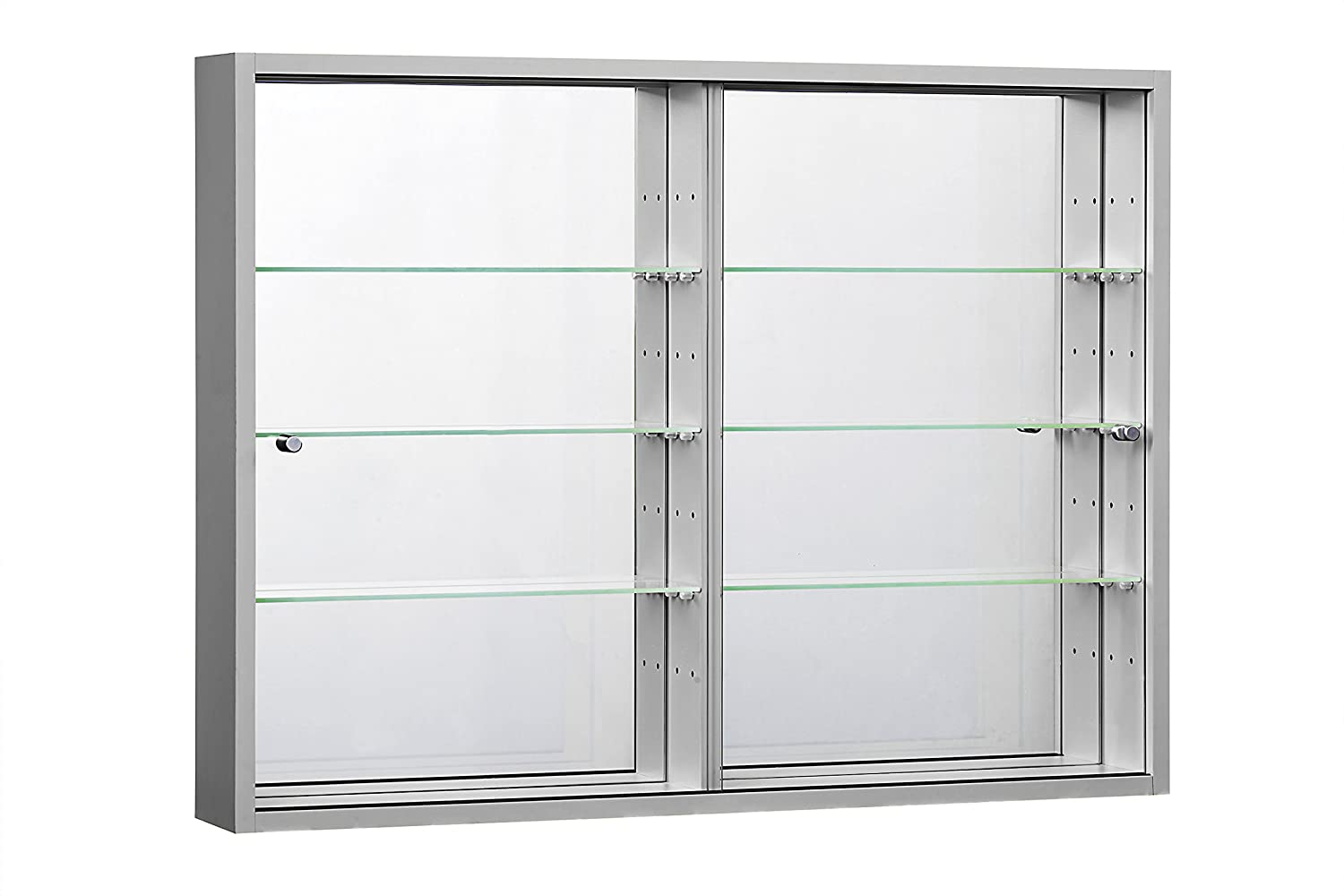 orbit plus wall mounted glass display cabinet with mirror back