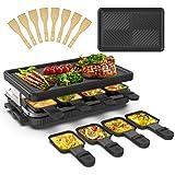 Appareil a Raclette 8 Personne Raclette Grill 8 Spatule 8 Poêlons Grill Electrique Machine a Raclette Grill BBQ Revêtement An