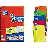 Oxford Cuadernos A4,Tapa Extradura, Pizarra Write&Erase, 80 Hojas, Cuadrícula 4x4, Pack 4+1, Surtido colores vivos