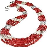 Unique Gifts On The Web - Collana lunga in argento con perline di corallo rosso