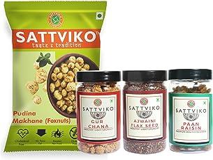 Sattviko Pudina Makhana Ajwaini Flax Seeds Gur Chana and Paan Raisins Combo, 331g