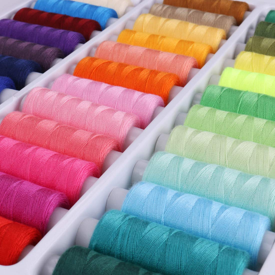 Luxbon Pack of 39 Spools Rainbow Assorted Colour Colors Polyester Sewing Thread Box Kit Set Ideal for Quilting Stitching//Hand Sewing//Machine Sewing