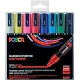 POSCA - Uni Mitsubishi Pencil - 8 Marqueurs PC5M - Pointe Conique - Couleurs Classiques - Posca Pointe Moyenne - Marqueurs Pe