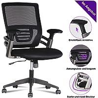 LENTIA Bürostuhl aus Netzstoff Schreibtischstuhl ergonomischer Drehstuhl Stabiler Computerstuhl mit verstellbaren Armlehnen und Lendenwirbelstütze schwarz (Schwarz2)