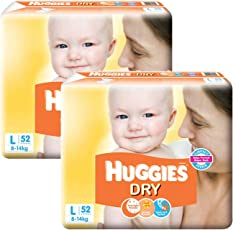 Huggies New Dry Large Size Diapers (Pack of 2, 52 Counts Each)