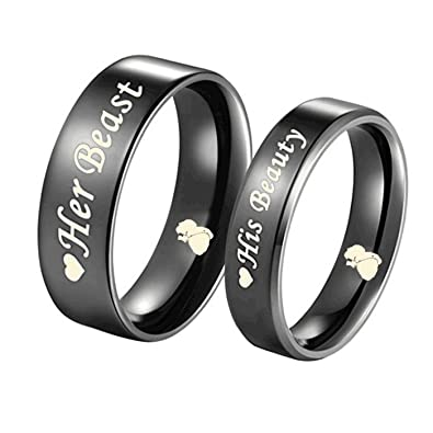 Superior High Quality His Beauty/Her Beast Love Heart Black Titanium Engagement  Wedding Bands Promise Ring Anniversary Gifts (SALE PRICE IS FOR 1 RING  ONLY): ...