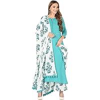 MEERA FAB Women's Cotton Floral Print Straight Kurta Pant and Dupatta Set (Aqua)
