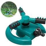 HTLY SPR Garden Sprinkler, Automatic Lawn Sprinkler 360 Degree Rotating 3 Arms Adjustable Water Sprinkler System Large Covera
