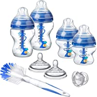 Tommee Tippee Advanced Anti-Colic Newborn Baby Bottle Starter Set, Blue, 2 x 260 ml bottles, 2x 150 ml bottles, Teats, Bottle & Teat brush and a Soother