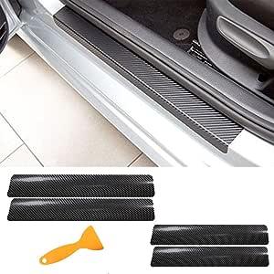 Tuqiang 4 Pezzi Auto Porta Davanzale Adesivo 4D Fibra di Carbonio Pedale Soglia Antigraffio Adesivo di Protezione per Clio Megane Captur