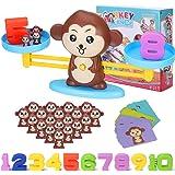 Juegos Matematicos Balanza para Niños, Equilibrar Monos Animal Juguete Montessori con Numer Tarjeta, Number y Matemáticas Apr