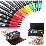 HOHUHU 100 Colores Con doble Rotuladores Punta Pincel,Ideal Para Libros Para Colorear Para Adultos, Manga, Comic, Caligrafía
