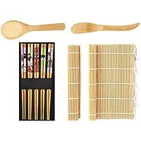 WoYu Kit à Sushi, 9 Pièces Sushi Maker Kit, Kit De Préparation De Sushi 2 Tapis en Bambou, 1 Pagaie à Riz, 1 Épandeur de…