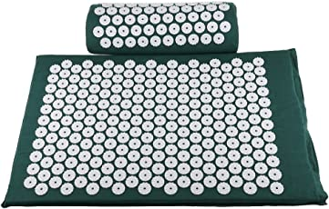 Segolike Acupressure Massage Pillow Mat Cushion for Neck Head Back Massage Pain Relief Stress Relaxation Tool - dark green