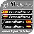 Kit x10 Pegatinas Vinilo Bandera España + tu Nombre - Bici, Casco, Pala De Padel, Monopatin, Coche, Moto, etc. Kit de 10 Vini