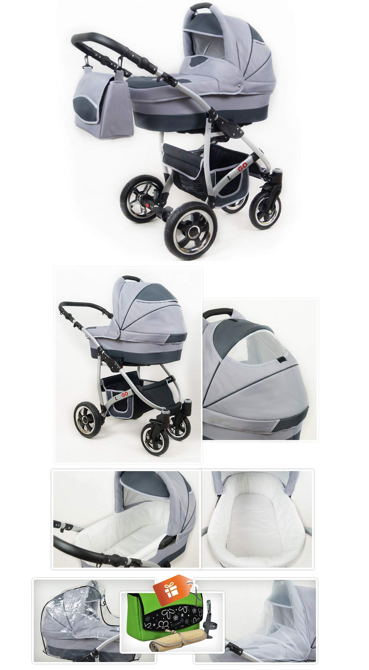 SaintBaby Stroller Pram 2in1 3in1 Set All in one Baby seat Buggy Pushchair New L-GO Black 3in1 with Baby seat SaintBaby 3in1 or 2in1 Selectable. At 3in1 you will also receive the car seat (baby seat). Of course you get the baby tub (classic pram) as well as the buggy attachment (sports seat) no matter if 2in1 or 3in1. The car naturally complies with the EU safety standard EN1888. During production and before shipment, each wagon is carefully inspected so that you can be sure you have one of the best wagons. Saintbaby stands for all-in-one carefree packages, so you will also receive a diaper bag in the same colour as the car as well as rain and insect protection free of charge. With all the colours of this pram you will find the pram of your dreams. 4