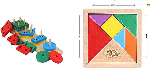 Baybee Wooden Geometric Shape Sorter Puzzle - Multi Color