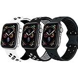VIKATech Compatible Cinturino per Apple Watch Cinturino 44mm 42mm 40mm 38mm, Due Colori Morbido Silicone Traspirante Cinturin
