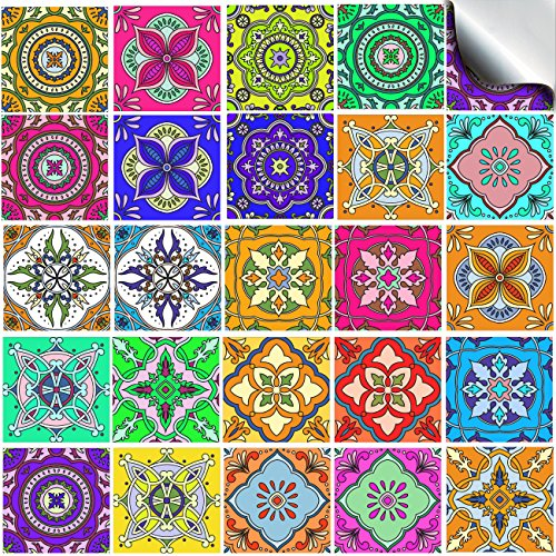 "tp64 - 6"" Sample Pack of 2 - Printed in 2D Kitchen / Bathroom Tile STICKERS For 150mm (6 inch) Square Tiles – Directly From: TILE STYLE DECALS, No Middleman (6"" - Sample of 2 stickers)"