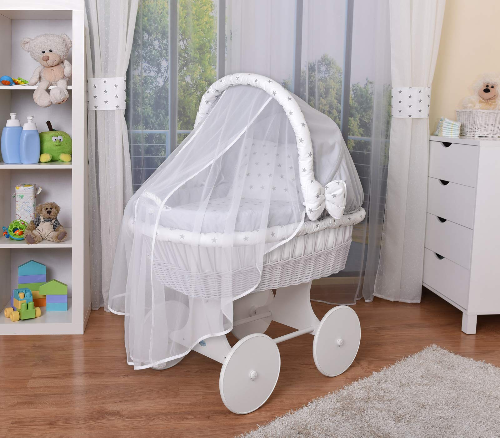 WALDIN Baby Wicker Cradle,Moses Basket,44 Models Available,White Painted Stand/Wheels,Textile Colour Grey/Grey Stars  For more models and colours on Amazon click on WALDIN under the title Bassinet complete with bedding and stand Certified to safety standard EN 1130-1/2 2