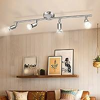 Luminaire Plafonnier 4 Spots LED Orientables, Wowatt 6W Spot de Plafonnier 600Lm GU10 Applique Lampe 2800K Blanc Chaud…
