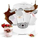 Duronic YM2 Yaourtière électrique avec écran numérique et 8 pots en céramique de 125 ml - Parfait pour préparer des yaourts, sauces et desserts lactés faits-maison