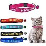 Brillianne Collare Personalizzato per Gatti Breakaway Personalizzato con Campana, Fibbia a Scatto di Sicurezza, Nome identifi